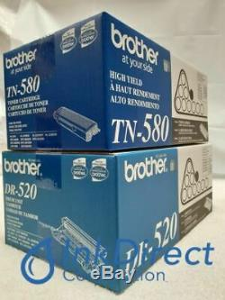 1 Each Genuine Brother TN580 TN-580 DR520 DR-520 Toner and Drum Cartridge 5240 5