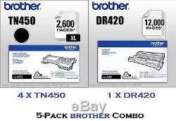 5 Pack COMBO GENUINE BROTHER TN450 Toners & DR420 Drum Unit. BRAND NEW SEALED