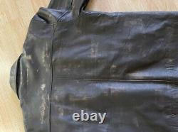 Borghetti Bros Real Leather Jacket Brown Vintage Style Size M