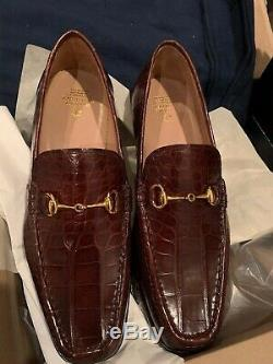 Brooks Brothers Genuine American Alligator Classic Bit Loafers Size 10.5 US NIB