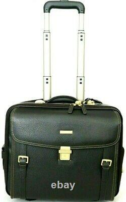 Brooks Brothers Genuine Leather Trolley Travel Bag Brown