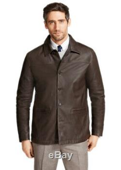 Brooks Brothers Men's Brown Genuine Leather Button Up Car Coat Jacket M 7648-4