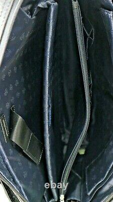 Brooks Brothers Men's Classic Leather Briefcase Laptop Bag Black