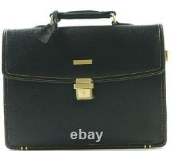 Brooks Brothers Men's Classic Leather Briefcase Laptop Bag Dark Brown