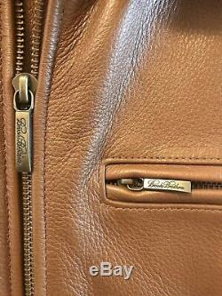 Brooks Brothers Mens Mocha Brown 100% Genuine Leather Jacket Sz S Small NWOT