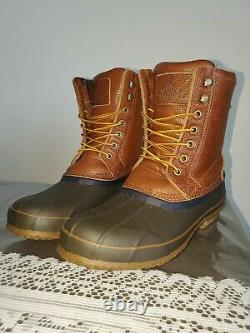 Brooks Brothers Real Leather Sheep Fur Lined Brown Duck Boots Mens Size 10 D