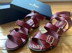 Brooks Brothers Strappy Sandal Heels, Dark Red, Women's 7, Genuine Leather
