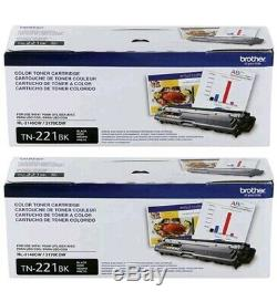 Genuine Oem Brother Tn221bk Black Toner Cartridge Set (2-pack) Brand New