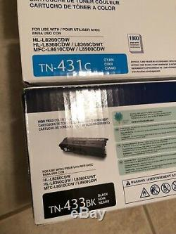 Lot 4 GENUINE Brother Laser Toner Cartridges (1 ea) TN431C TN431M TN431Y TN433BK