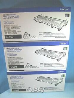 Lot Of 3 Genuine Brother Tn-660 High Yield Black Toner Cartridges Sealed Boxes