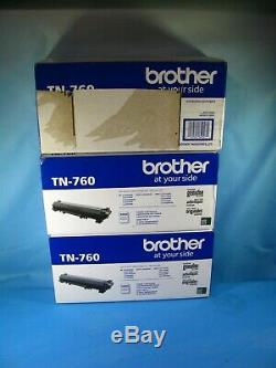 Lot Of 3 Genuine Brother Tn-760 Black High Yield Toner Cartridges Free Ship