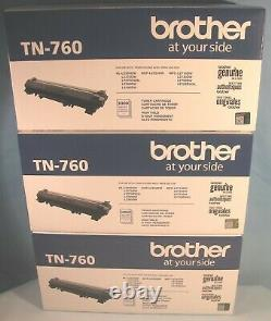Lot Of 3 Genuine Brother Tn-760 Black High Yield Toner Cartridges Sealed Boxes