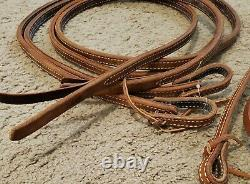 New Al Dunning By Schultz Brothers Genuine Leather Western Headstall And Reins