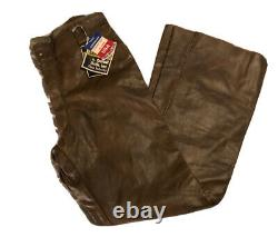 Schott Bros. Brown Genuine Leather Motorcycle Pants Size 36 NWT